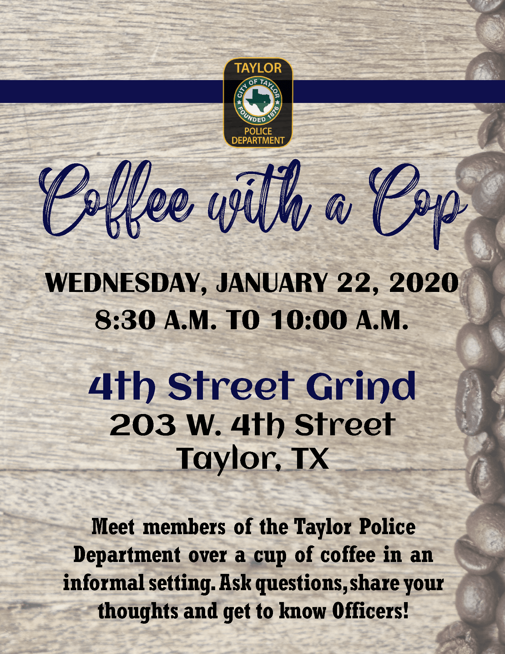 COFFEE WITH A COP JAN 2020- 4TH STREET